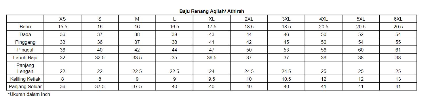 Ukuran Baju Renang Aqilah dan Athirah