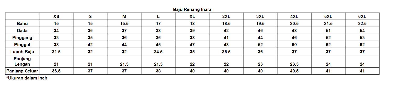 Ukuran Baju Renang Inara